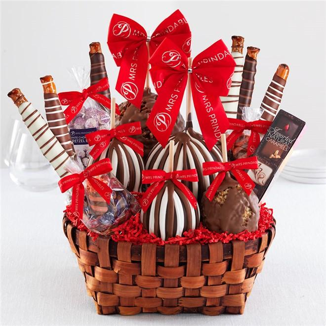 Caramel Apple Gift Basket: Premium Valentine Caramel Apple Gift Basket