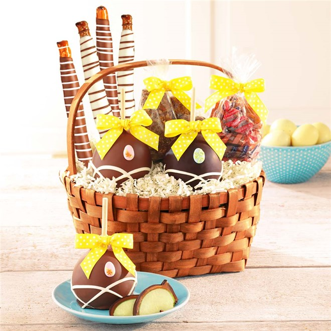 Caramel Apple Gift Basket: Classic Easter Caramel Apple Gift Basket