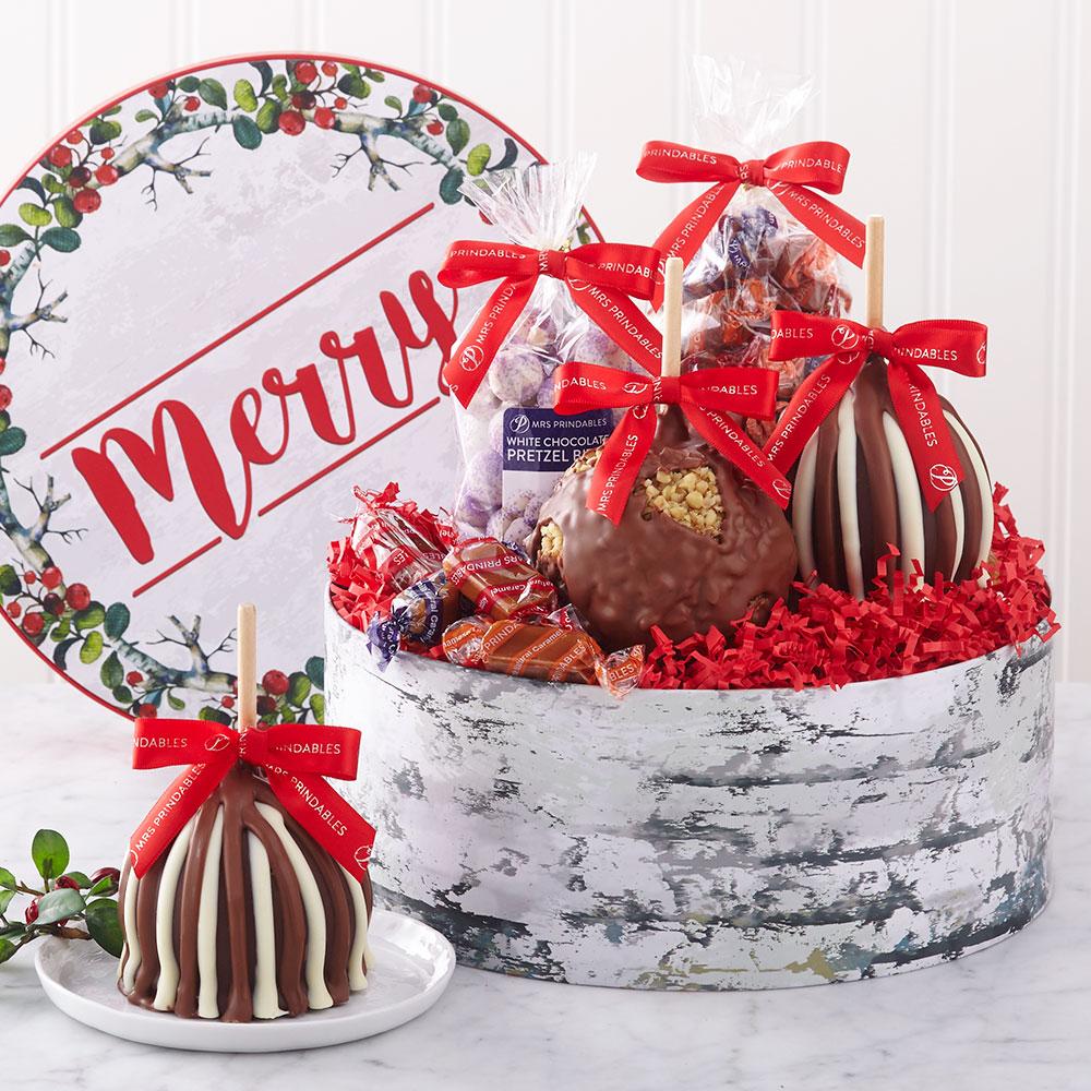 Caramel Apple Gift Basket: Mrs Prindables Gourmet Caramel Apples, Chocolates & Gifts
