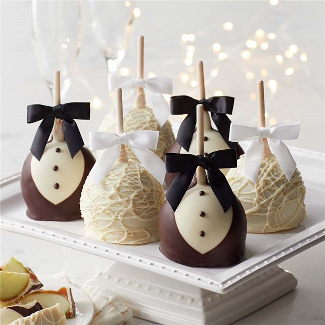 Bride and Groom Petite Caramel Apple 12Count Case Mrs Prindables