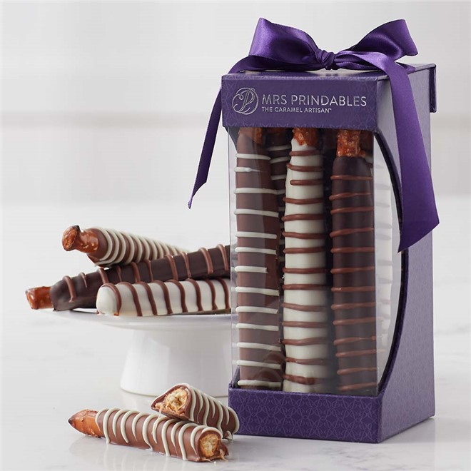 chocolate and caramel dipped pretzels 9 piece gift mrs prindables
