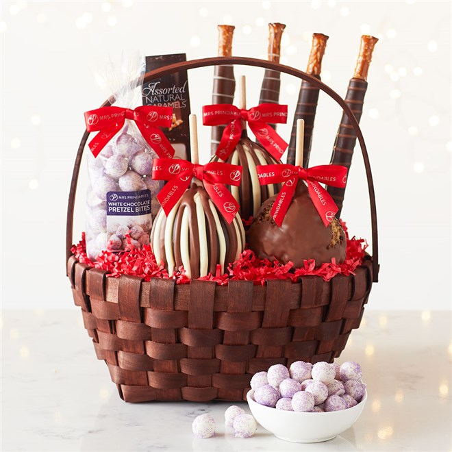Caramel Apple Gift Basket: Classic Holiday Caramel Apple Gift Basket