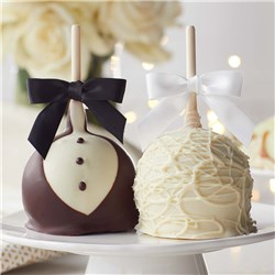 Bride and Groom Petite Caramel Apple 2-Pack