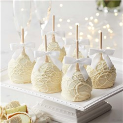 Gourmet white chocolate Petite Caramel Apples dressed as brides