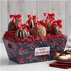Holiday Cardinal Caramel Apple Gift Tray
