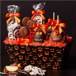 Jack-O-Lantern Caramel Apples and Confections Gift Tray