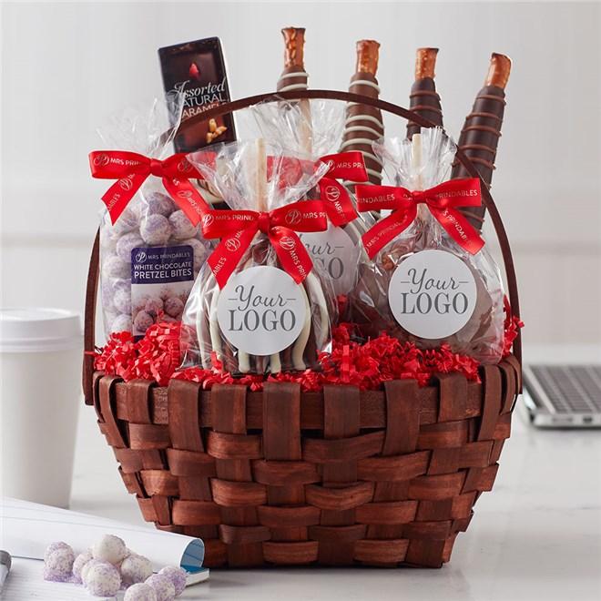 Caramel Apple Gift Basket: Custom Label Classic Holiday Caramel Apple Gift Basket